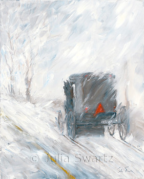 An Amish Buggy in a snowstorm painted with oil paints on canvas
