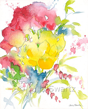 An impressionistic watercolor & Ink painting of a bouquet of flowers painted on canvas by Julia Swartz. Summer Bouquet 2