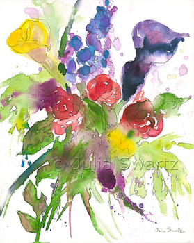 An impressionistic watercolor & Ink painting of a bouquet of flowers painted on canvas by Julia Swartz. Summer Bouquet 4