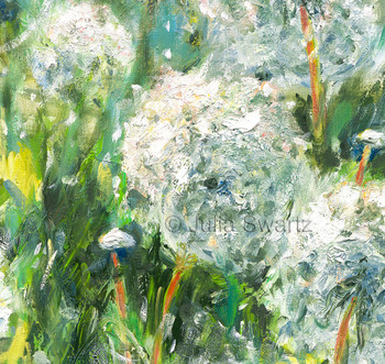 An original impressionist oil painting on canvas of Dandelions by Julia Swartz zoomed in.