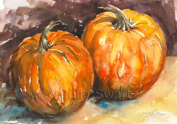 Two Pumpkins note cards by Julia Swartz