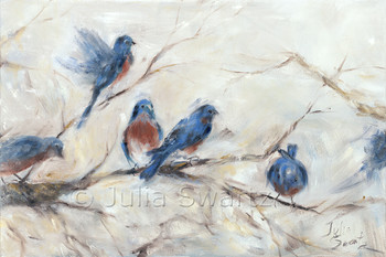 An impressionistic oil painting of Bluebirds by Julia Swartz, Lancaster PA
