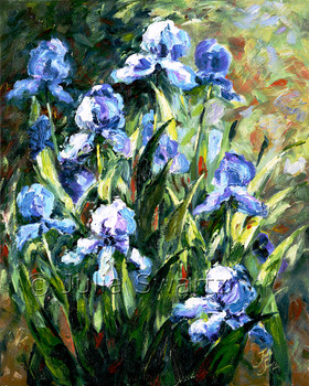 A Blue Iris flower oil painting on canvas by artist Julia Swartz.