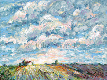 An oil paintings of clouds in a blue sky, farm fields with a house in the distance by Julia Swartz.