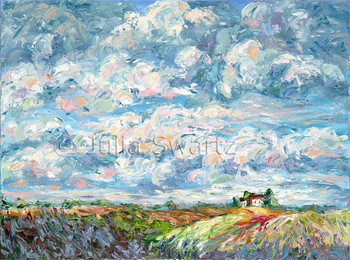 An oil painting on canvas of many clouds in a blue sky with farm fields in the foreground and a farm house in the distance bu Julia Swartz.