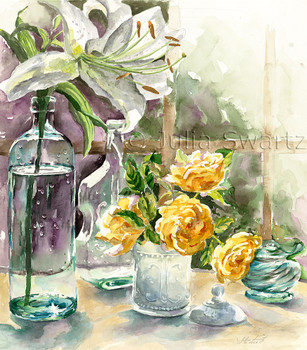 A watercolor paintings of Lilies and  Roses in antique bottles by Julia Swartz.
