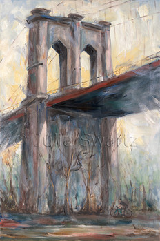 An impressionist oil painting the Brooklyn bridge by Julia Swartz.