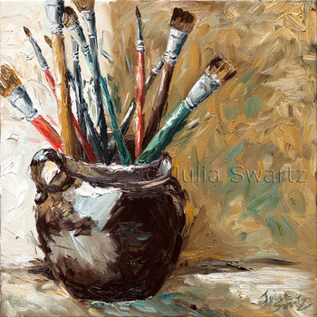 This oil painting is a study of the very brushes that help Julia to do her work.
