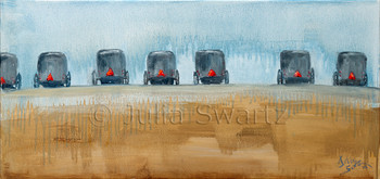 An oil painting of a Row of Amish buggies a mud sale auction in Lancaster county PA