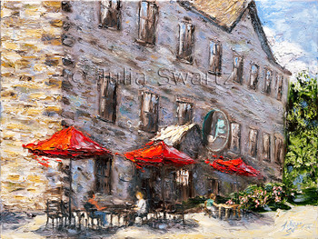 Inspired by a trip to Perth, Canada, this painting of a massive old stone building that is now a cafe with shops captures both time periods beautifully.