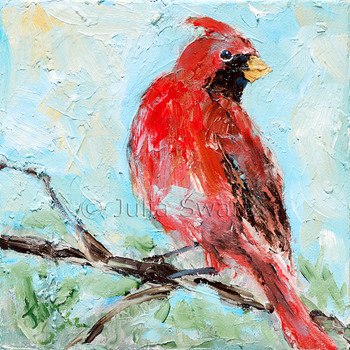 An impressionistic close up oil painting of a Cardinal by Julia Swartz Lancaster PA