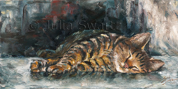 An oil painting of Max, a cat by artist Julia Swartz