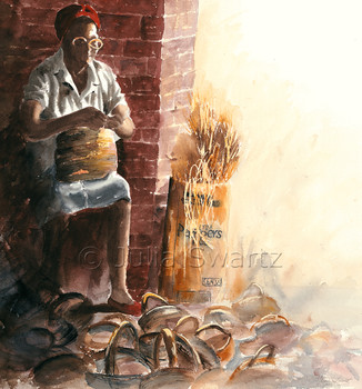 A watercolor painting of a lady weaving a basket in Charleston SC. by artist Julia Swartz.