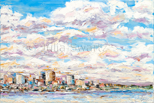 This palette knife oil painting emphasizes the beautiful sky filled with colorful clouds above the Harrisburg city line by Julia Swartz.
