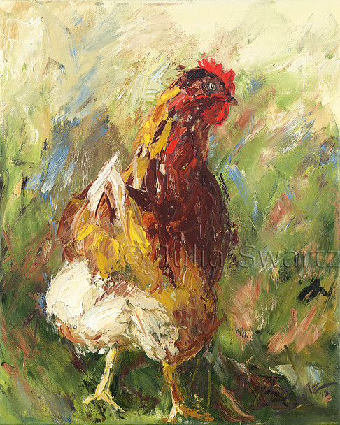 An impressionistic oil painting of a red chicken by Julia Swartz Lancaster PA