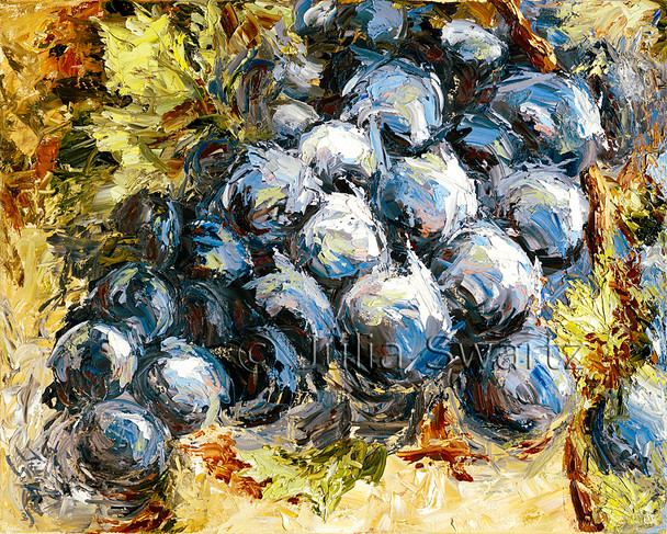 A still life close up oil painting on canvas of a cluster of concord grapes painted with a palette knife by Julia Swartz.