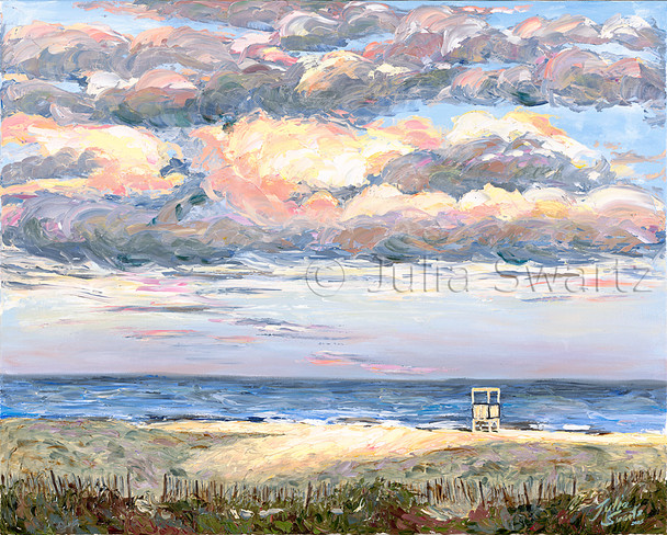 An oil painting of a Lifeguard stand on the beach at Ocean City NJ