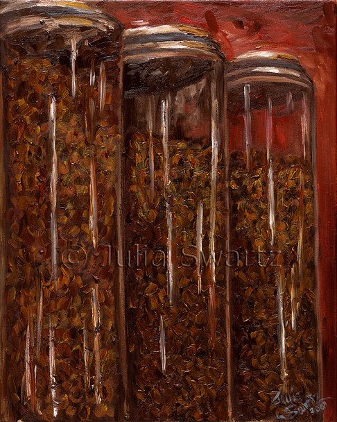 An oil painting of jars for of coffee beans.
