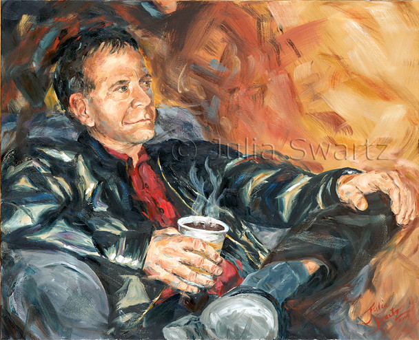 A figure oil painting of a man having a cup of coffee.