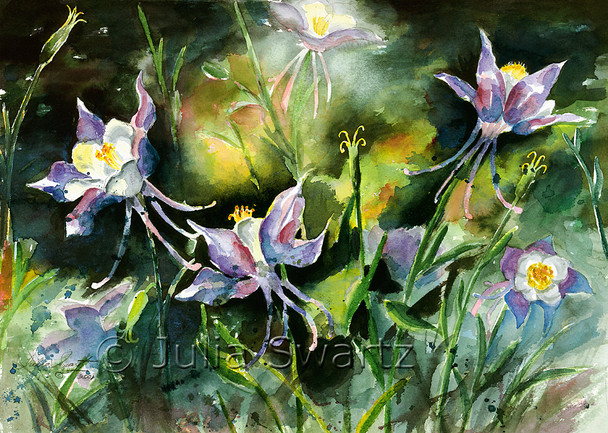 A watercolor painting of columbine flowers by artist Julia Swartz