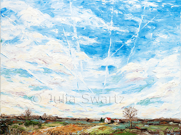 Julia always notices the many contrails that hang in the sky above her property as planes make their way to Philadelphia Airport.