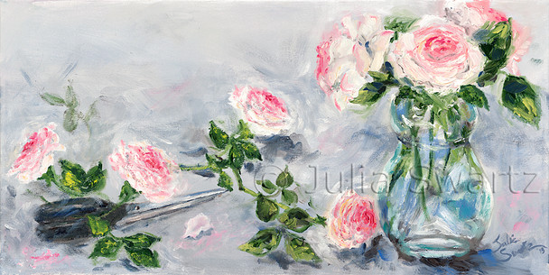 An impressionist oil painting of pink roses in a vase by Julia Swartz Lancaster PA