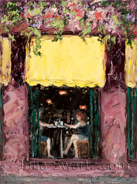 An impressionist oil painting of the D'Orsay Pub in Old Town Quebec City Canada Julia Swartz.
