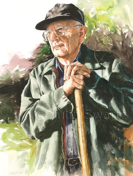 A watercolor painting of Julia's father leaning on his shovel.