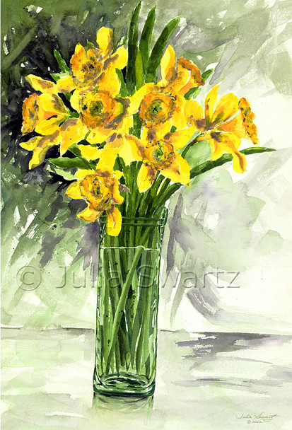 A watercolor painting of Daffodils in a vase by Julia Swartz