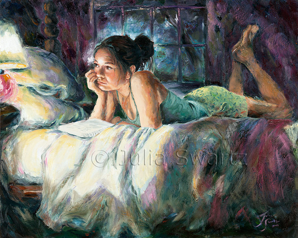 This oil painting of Amber, Julia's daughter, captures her lying across her bed in a typical teenage pose.