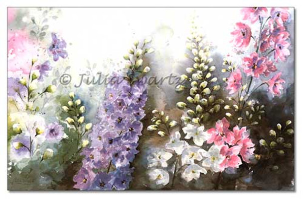 A watercolor painting of Delphinium flowers from Julia's gardens painted by Julia Swartz