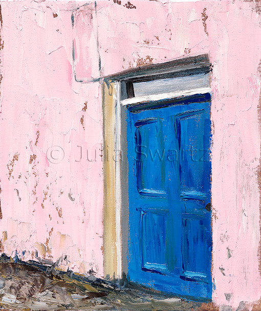 A blue door of a home in Moville Ireland, one of many different colored doors in pastel painted homes painted in oil on canvas by Julia Swartz.