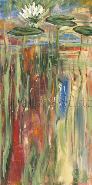 An abstract oil painting, Down under, lily pads, by Julia Swartz Lancaster PA artist.