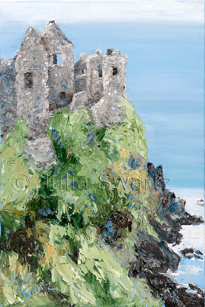 A landscape oil painting of Dunluce Castle in Ireland by Julia Swartz,