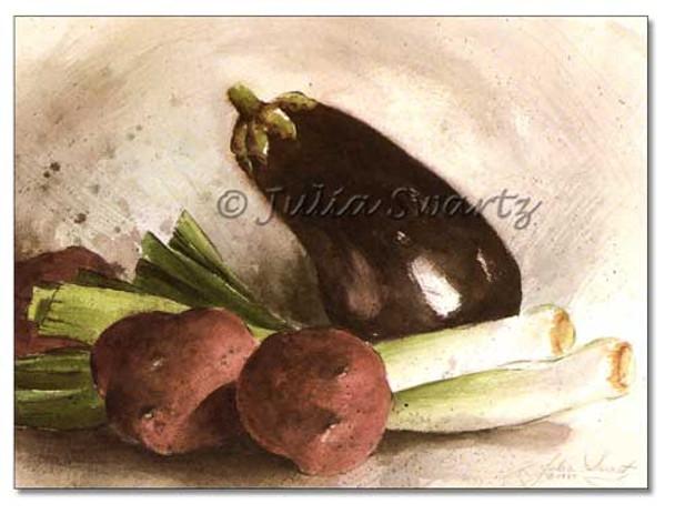 Original Watercolor paintings of Eggplant, Red potato & onion by Julia Swartz