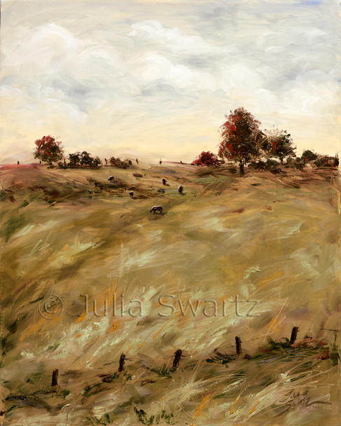 Cows grazing in a meadow as the sun is setting oil painting by Julia Swartz.