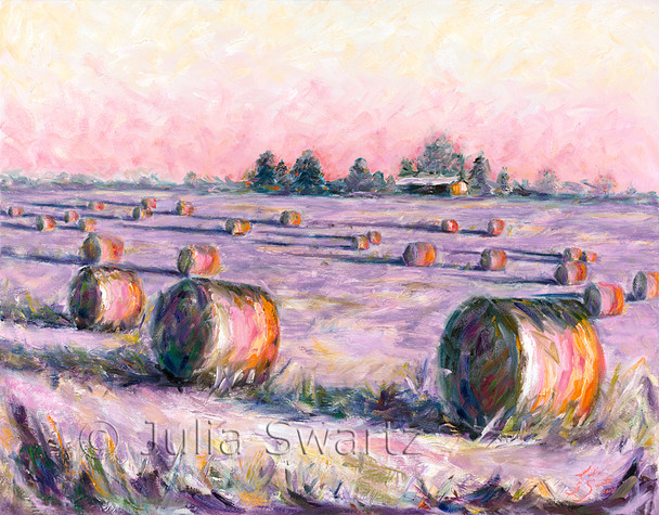 An oil painting of Big round hay bales in Lancaster Co PA by artist Julia Swartz.