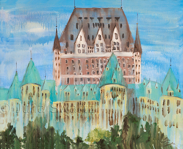 An oil painting of  the Fairmont Le Chateau Frontenac in Quebec city Canada by Julia Swartz