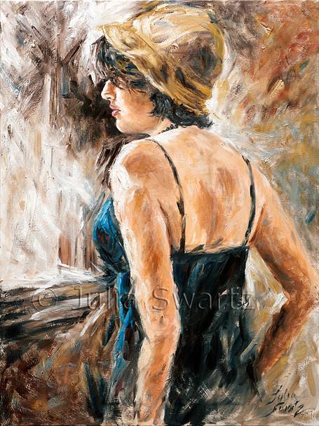 A portrait oil painting of Leah wearing an old felt hat by Julia Swartz.