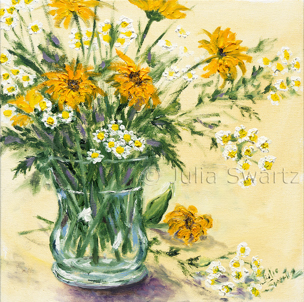Feverfew flowers arranged in a glass vase and painted in oil on canvas by Julia Swartz.