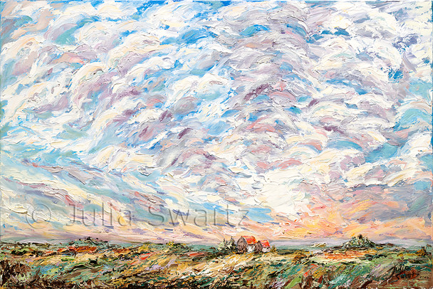 In this palette knife oil painting, rows of thick clouds seem to turn into waves in the evening sunset.