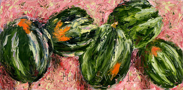 A still life vegetable oil painting of acorn squash by Julia Swartz, Lancaster PA.