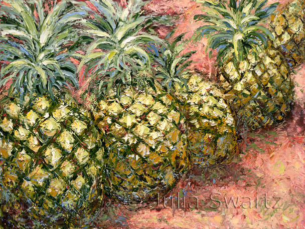 Five Pineapples painted in oil close up with lots of paint texture by Julia Swartz.