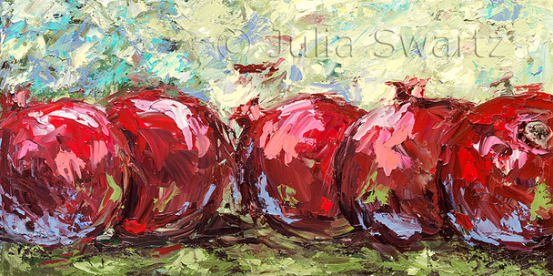 A still life fruit oil painting of Pomegranates by Julia Swartz, Lancaster PA.