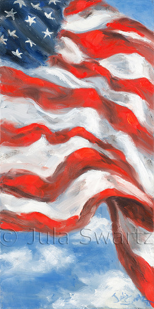 A close up oil painting of the American Flag against the blue sky by Julia Swartz.