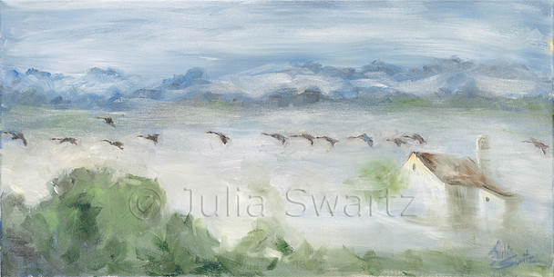 Early morning sunrise, the valleys are filled with fog, the Amish farm and silo are just peeking through the fog, while a flock of Canadian geese fly by just above the fog. Painted by Julia Swartz.
