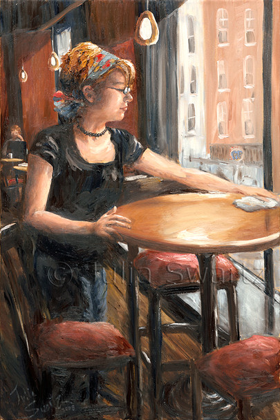 An Oil Painting of clearing tables at Prince St Cafe