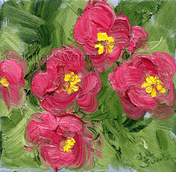 A close up impressionism oil painting of Fuchsia Primrose by Julia Swartz Lancaster PA