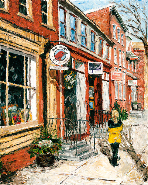 A painting of the art galleries on gallery row in Lancaster by Julia Swartz