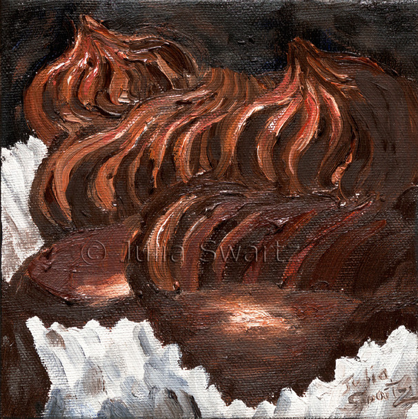 This is Julia's favorite dessert! She has captured the swirly peaks of chocolate and hints of raspberry in this luscious oil painting